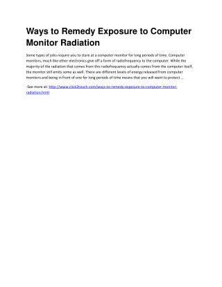 Ways to Remedy Exposure to Computer Monitor Radiation