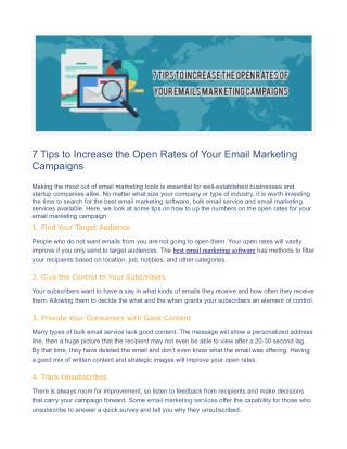 7 Tips to Increase the Open Rates of Your Email Marketing Campaigns