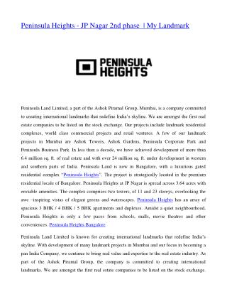 Peninsula Heights - JP Nagar 2nd phase  | My Landmark