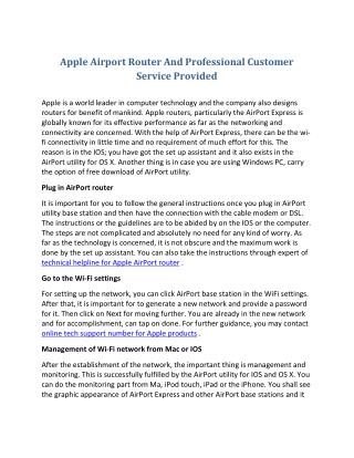 Apple Airport Router And Professional Customer Service Provided