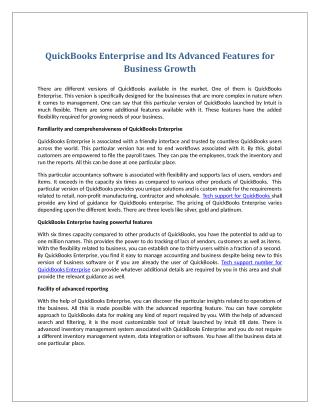 QuickBooks Enterprise and Its Advanced Features for Business Growth