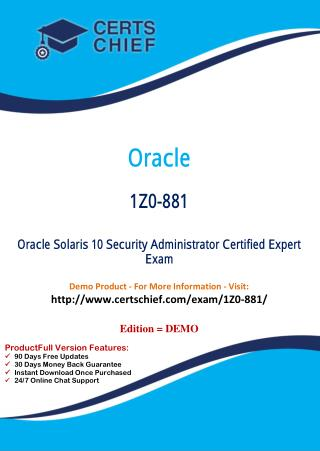 1Z0-881 Professional Certification