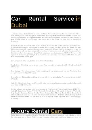Car Rental Service in Dubai