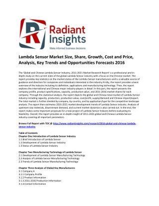 Lambda Sensor Market Size, Share, Cost and Price, Analysis, Key Trends and Opportunities Forecasts 2016