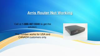 Arris Router Not Working