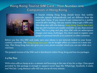 Hong Kong Tourist SIM Card - Your Number one Companion in Hong Kong