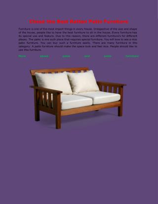 Chose the Best Rattan Patio Furniture