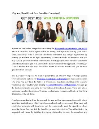 Why You Should Look for a Franchise Consultant?