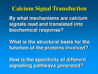Calcium Signal Transduction