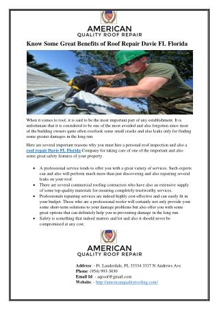Know Some Great Benefits of Roof Repair Davie FL Florida
