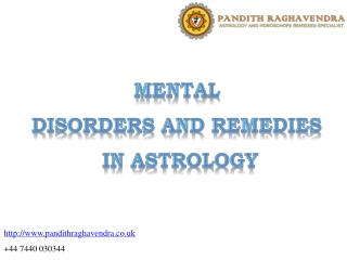 Mental Disorders and Remedies in Astrology