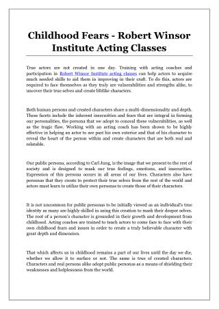 Childhood Fears - Robert Winsor Institute Acting Classes