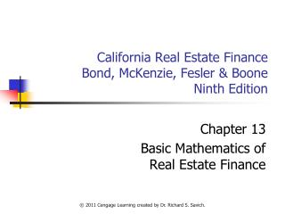 California Real Estate Finance Bond, McKenzie, Fesler  Boone Ninth Edition