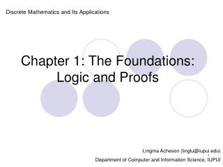 Chapter 1: The Foundations: Logic and Proofs