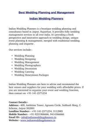Best Indian Wedding Planners and Management in Jaipur, Rajasthan