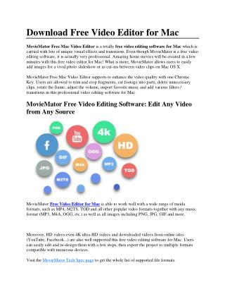 Download Free Video Editor for Mac