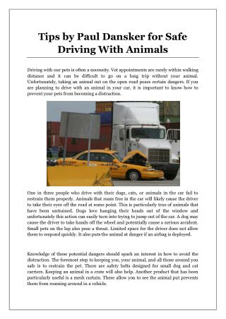 Tips by Paul Dansker for Safe Driving With Animals