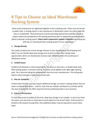 8 Tips to Choose an Ideal Warehouse Racking System