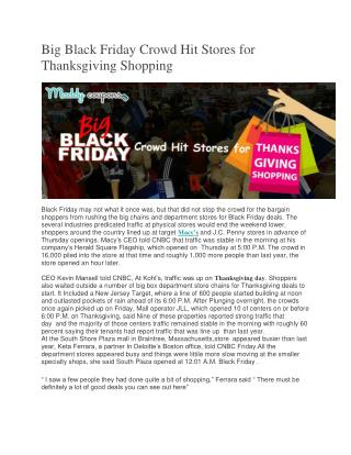 Big Black Friday Crowd Hit Stores for Thanksgiving Shopping