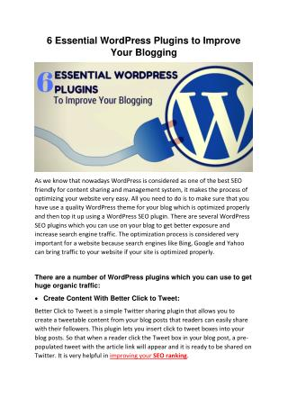 6 Essential WordPress Plugins to Improve Your Blogging