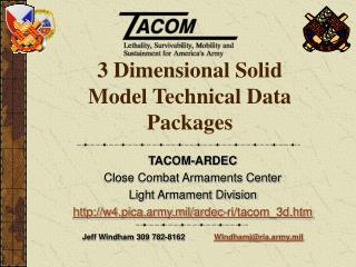 3 Dimensional Solid Model Technical Data Packages