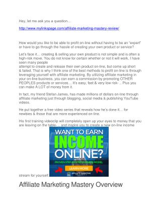 Affiliate Marketing Mastery Review and bonus