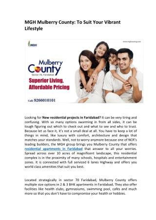 MGH Mulberry County: To Suit Your Vibrant Lifestyle