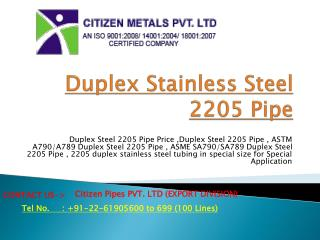Duplex Stainless Steel 2205 Pipe