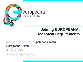 Joining EUROPEANA: Technical Requirements