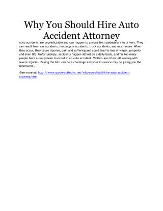 Why You Should Hire Auto Accident Attorney