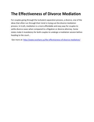 The Effectiveness of Divorce Mediation
