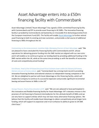Asset Advantage enters into a £50m financing facility with Commerzbank