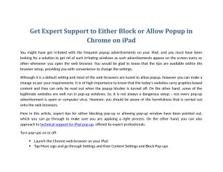 Get Expert Support to Either Block or Allow Popup in Chrome on iPad
