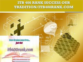 ITB 400 RANK Success Our Tradition/itb400rank.com