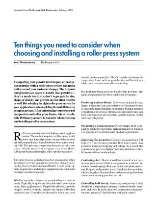 Ten things need to consider when choosing and installing a roller press system