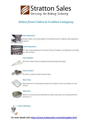 Bakery Equipments- Cake & Cookie Supplies | Stratton Sales