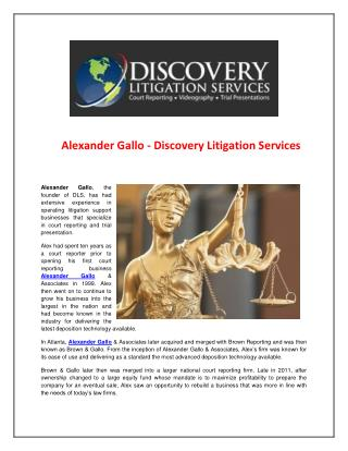 Alexander Gallo - Discovery Litigation Services