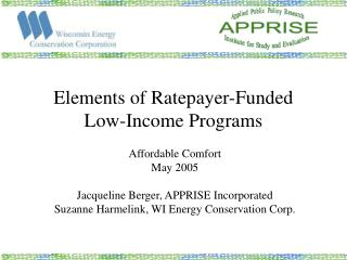 Elements of Ratepayer-Funded Low-Income Programs