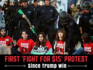 First 'Fight for $15' protest since Trump win