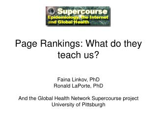 Page Rankings: What do they teach us?