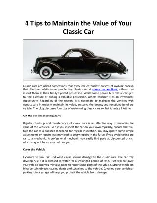 4 Tips to Maintain the Value of Your Classic Car