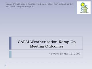 CAPAI Weatherization Ramp Up  Meeting Outcomes
