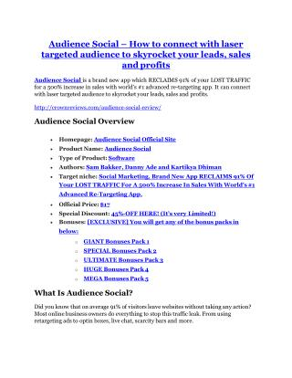 Audience Social review and MEGA $38,000 Bonus - 80% Discount