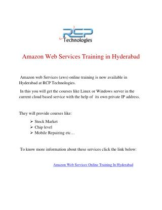 Amazon Web Services Online Training In Hyderabad