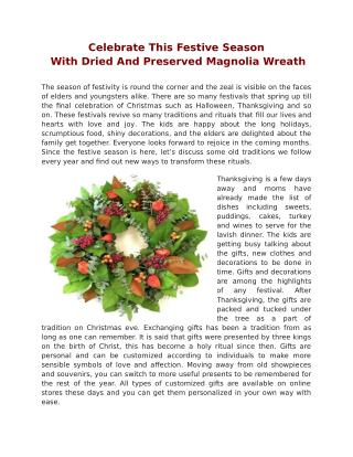 Celebrate This Festive Season With Dried And Preserved Magnolia Wreath