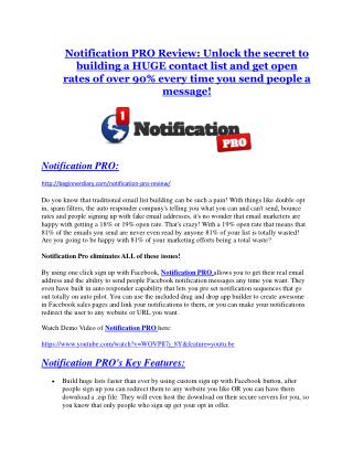 Notification PRO review & Notification PRO $22,600 bonus-discount