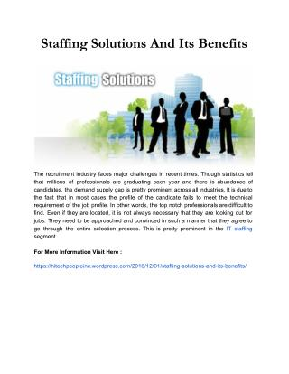 Staffing Solutions And Its Benefits