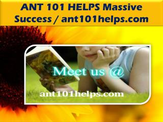 ANT 101 HELPS Massive Success / ant101helps.com