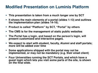 Modified Presentation on Luminis Platform