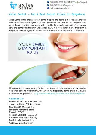 Best Dental Clinic in Bangalore – Axiss Dental